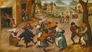 Straat met dansende boeren