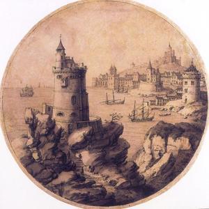 Rotsachtig kustlandschap met torens