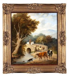 Landschap met brug, vee en een ruiter