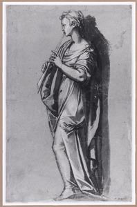 De muze Euterpe spelend op een fluit