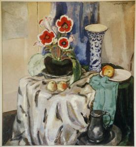 Stilleven met begonia en Delftse vaas op tafel