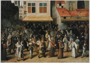 De omgang van de Ligue door de straten van Parijs met de toevallige dood van kardinaal Cajetan (1590)