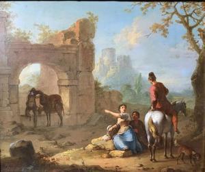 Landschap met reizigers bij een ruïne