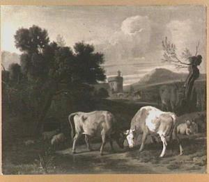 Zuidelijk landschap met vechtende stieren