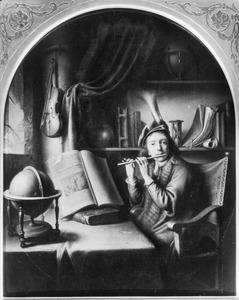 Fluitspelende jongeman in een studeervertrek