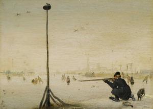 Winterlandschap met een eendenjager