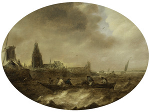 Roeiboot op woelig water voor een stad