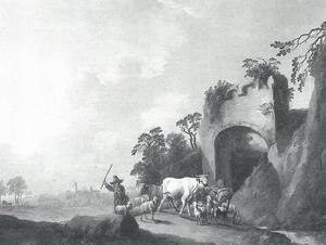 Landschap met een koeherder nabij een ruïneuze stadspoort