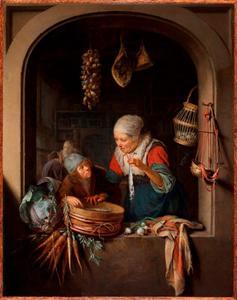 Een jongen en een oude vrouw met een haring in het venster van een winkel