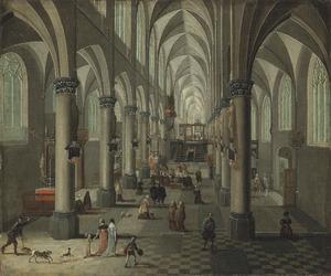 Kerkinterieur van een gotische kerk met elegante figuren en honden in de voorgrond, een mis in de achtergrond