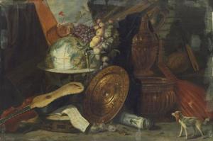 Stilleven met globe, muziekinstrumenten, siervaatwerk en hondje