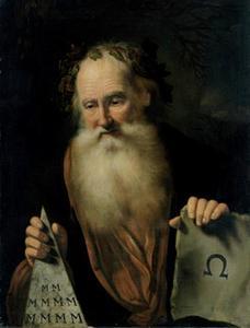 Een filosoof, mogelijk Democritus of Empedocles
