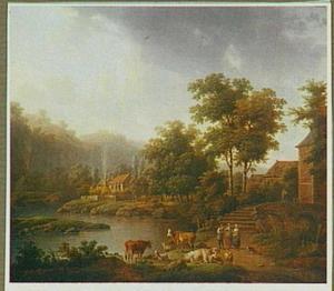 Landschap met een herder met zijn kudde en twee vrouwen aan de oever van een rivier.