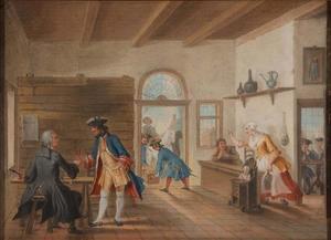 Scène uit de klucht De Puiterveense helleveeg, of beslikte Swaantje aan de tap van Abraham Alewijn uit 1720