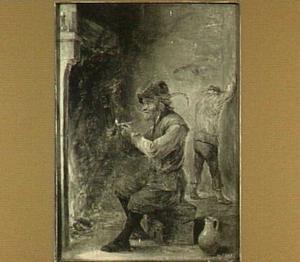 Pijprokende en drinkende boer voor een haardvuur; naar links