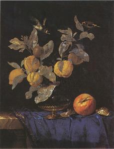 Stilleven met glazen vaas met takken met citrusvruchten en distelvinken