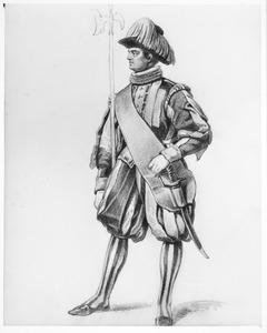Studie van een soldaat van de Zwitserse Garde