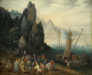 Rotsachtig kustlandschap met vissers die hun vangst uitladen en verkopen op het strand
