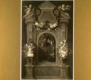 Het mystieke huwelijk van de Heilige Catharina omringd door heiligen en guirlandes