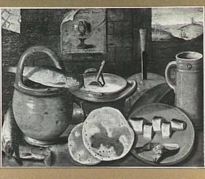 Stilleven met aardewerk, haring en pannekoeken; rechts een doorkijk naar een paar in een landschap met galg en molen