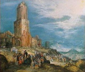 Weids panoramalandschap met de kruisdraging