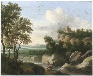Berglandschap met een rustende reiziger aan de oever van een rivier