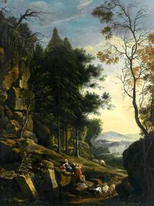 Bebost berglandschap met reiziger, herderin en vee