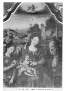 De H. Familie met een engel, die een vrucht aanreikt