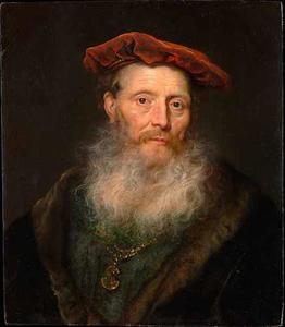 Bebaarde man met een fluwelen baret