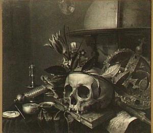 Vanitasstilleven met een globe, een kroon, een zwaard, een schedel met een lauwerkrans, een kandelaar, een horloge, een boek, een muziekblad en bloemen