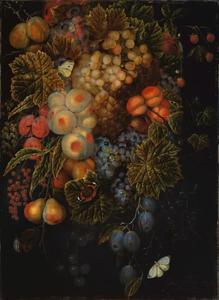 Fruitstilleven met druiven, perziken en abrikozen