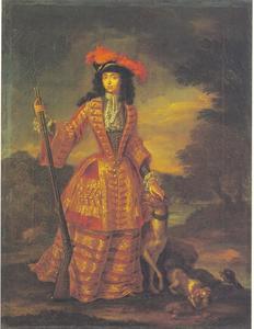 Keurvorstin Anna Maria Luisa van de Palts in jachtkostuum