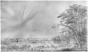 Landschap bij Voorburg met de buitenplaats Hofwijck