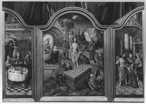 De maaltijd te Emmaüs (links), de opstanding (midden), de ongelovige Thomas (rechts)