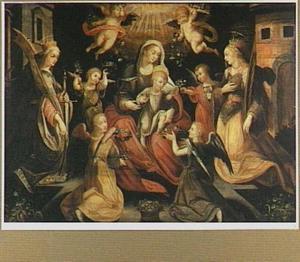 De verheerlijking van Maria met kind door de heilige Barbara, de heilige Catharina en engelen