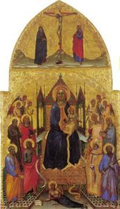 Tronende Maria en kind met heiligen en engelen