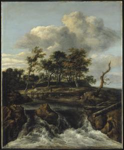 Landschap met waterval en een houten voetbrug