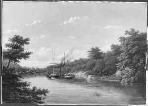 """Het radarstoomschip Zr.Ms. """"Celebes' in gevecht bij Poeloe Kanamit, 6 augustus 1859"""