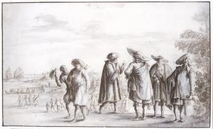Handelaren staande voor een kustlandschap