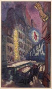 Straat in Parijs bij nacht