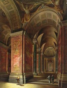 Interieur van een barokke kerk met figuren