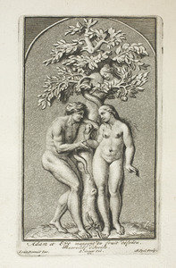 Adam en Eva eten van de verboden vrucht (pl. IX)