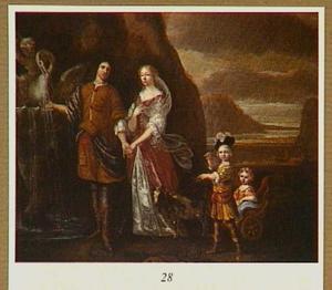 Portret van een familie bij een fontein