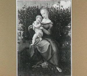 Madonna met Christuskind in een tuin