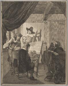 Beoordeling van een schilderij in een schildersatelier (zelfportret?)