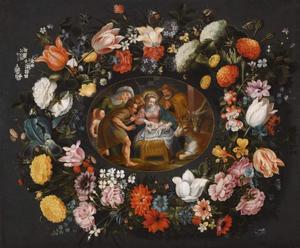 Aanbidding van de herders omringd door een bloemenkrans