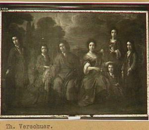 Portret van Bastiaen Scheurleer (1660-1720), zijn vrouw Susanna Maria Husson (1662-1745) en hun vijf kinderen Hendrick (1686-1769), Floris (1692-1755), Abraham (1694-1772), Jennick (1684-1713) en Jacobus Wilhelmus (1688-1729)