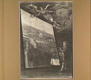 Allegorische voorstelling van een koning, die een landschap met paleisbebouwing schildert, bejubeld door Fama