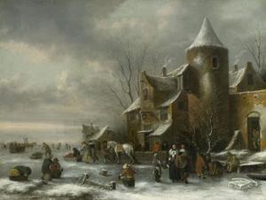 Winterlandschap met figuren op het ijs bij een herberg