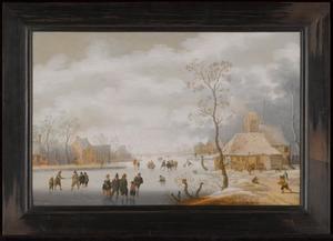 Winterlandschap met schaatsende figuren in een dorp